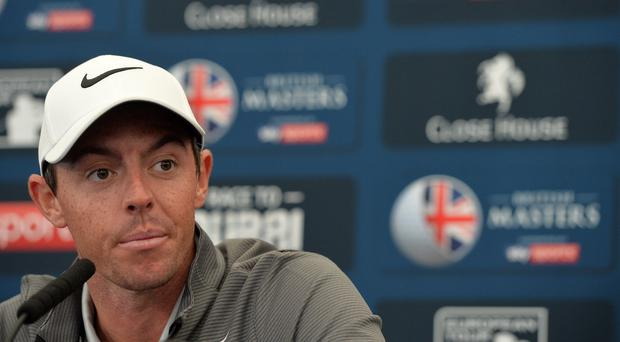 Rory McIlroy of Northern Ireland speaks to the media at a press conference during the British Masters previews at Close House Golf Club on September 27, 2017 in Newcastle upon Tyne, England. (Photo by Mark Runnacles/Getty Images)