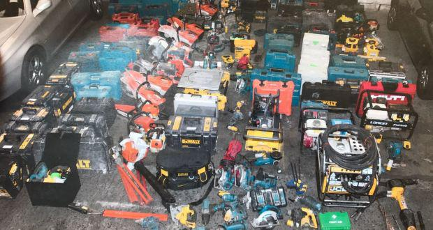 Tool thefts are becoming 'rampant' across Dublin. Pictured: €50,000 worth of tools seized at Dublin Port on April 29 this year Photo: An Garda Siochana