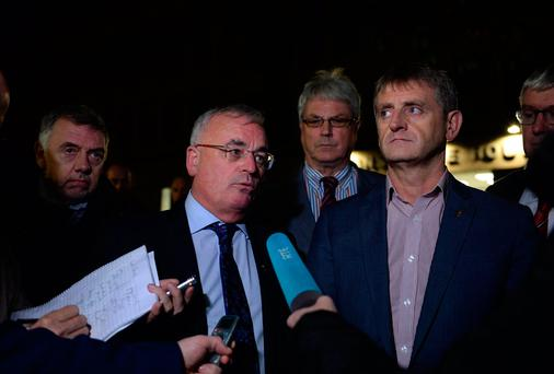 Union representatives including, from left; Paul Cullen, SIPTU, Dermot O'Leary, centre, from NBRU, Willie Quigley, TEEU, and Greg Ennis, from SIPTU, speaking to media outside WRC after Unions and Irish Rail Management talks end. Workplace Relations Commisssion. Landstowne House, Landsdowne Road, Dublin. Picture: Caroline Quinn