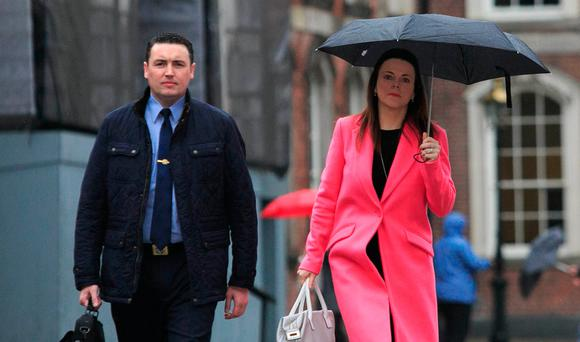 Garda whistleblower Keith Harrison and his partner Marisa Simms at the Disclosures Tribunal in Dublin Castle. Photo: Gareth Chaney/Collins