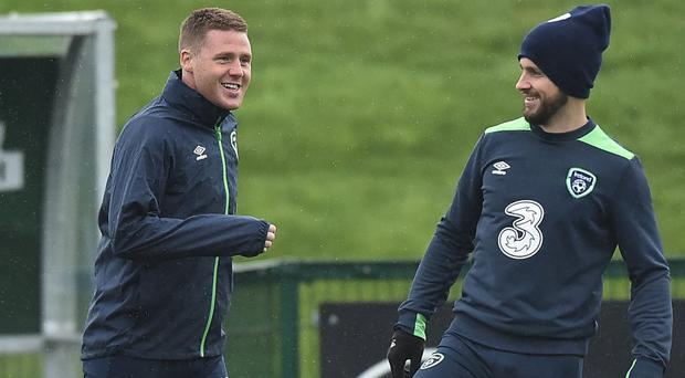 James McCarthy (left) pictured alongside Shane Long at Republic of Ireland squad training last March. Photo: David Maher/Sportsfile