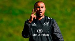 Simon Zebo during Munster Rugby Squad Training at the University of Limerick. Photo: Diarmuid Greene/Sportsfile