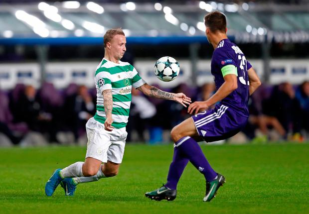 Celtic's Leigh Griffiths in action with Anderlecht's Leander Dendoncker. Photo: Reuters/Carl Recine