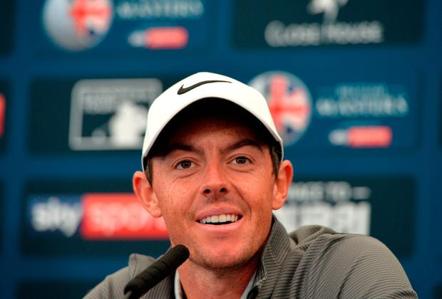Rory McIlroy at a press conference ahead of the British Masters at Close House Golf Club. Pic: Getty Images