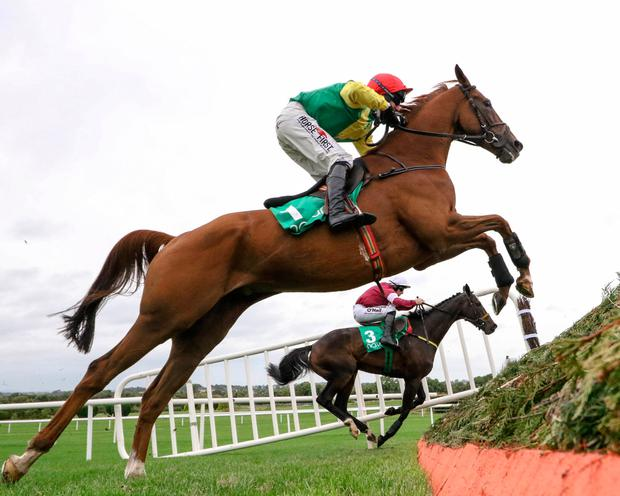 A Sizing Network and Robbie Power jumping with Bel Ami De Sivola, with Seán Flanagan up, at Navan last week. Pic: racingpost.com