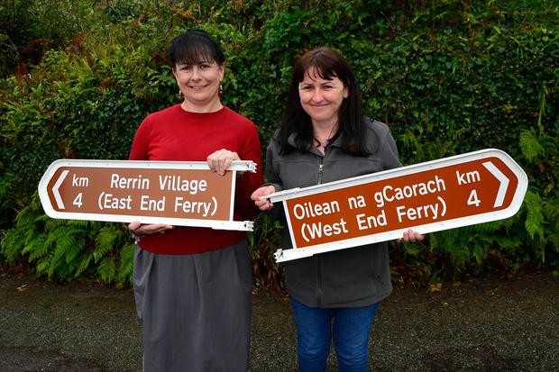 Helen Riddell and Bernie Orpen from the Bere Island Development Office Photo: Niall Duffy