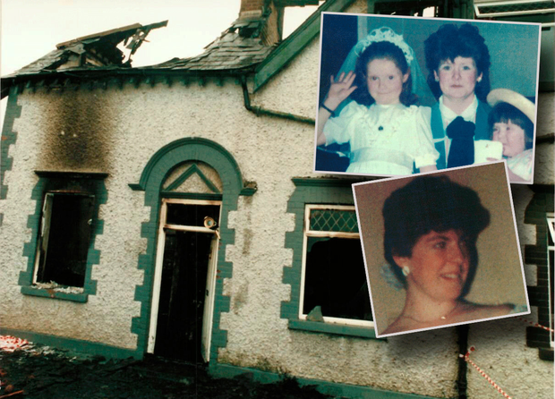 The house in Kilcock where Kerri Ann and Mary Ellen Byrne (pictured inset above with their mother Elizabeth) died with their aunt, Barbara Doyle (inset below), who was babysitting them in 1987