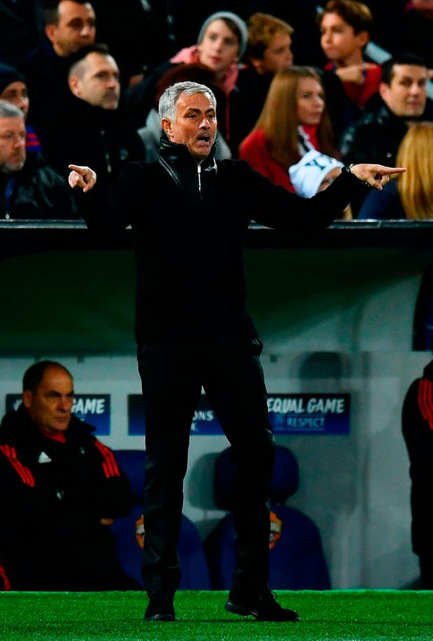 Jose Mourinho looks on during the UEFA Champions League group A match between CSKA Moskva and Manchester United