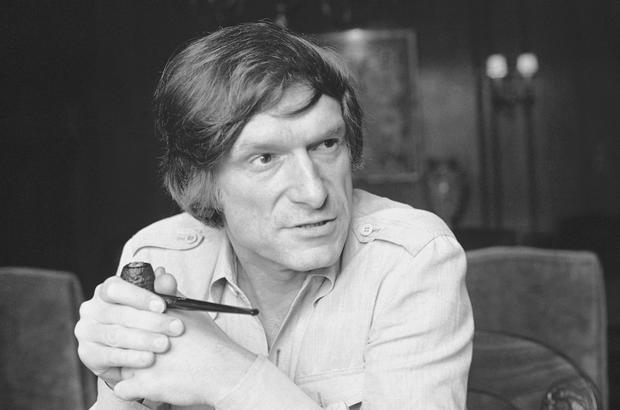 In this May 7, 1977, file photo, Playboy magazine founder Hugh Hefner talks about his coming late night TV show, Playboys Playmate Party, Los Angeles. (AP Photo/George Brich, File)