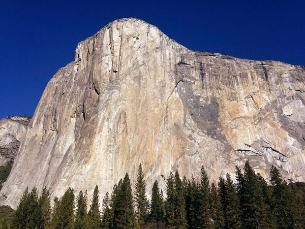 El Capitan in Yosemite National Park, Calif. Officials at Yosemite say a chunk of rock broke off El Capitan on Wednesday, Sept. 27, 2017, along one of the world's most famously scaled routes at the height of climbing season. (AP Photo/Ben Margot, File)