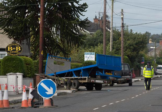 Two pedestrians have been taken to hospital after an incident involving a trailer in Dundalk, Co Louth. Initial indications are that a trailer struck the two people on Avenue Road at about 8.50am this morning. Picture: Arthur Carron