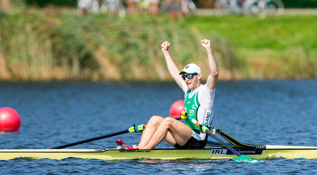 27 August 2016; Paul O'Donovan of Ireland celebrates after winning the Lightweight Mens Single Sculls Final at the 2016 World Rowing Championships at the Willem-Alexanderbaan Rowing Venue in Rotterdam, Netherlands. Photo by ANP Orange Pictures / Herman Dingler / Sportsfile