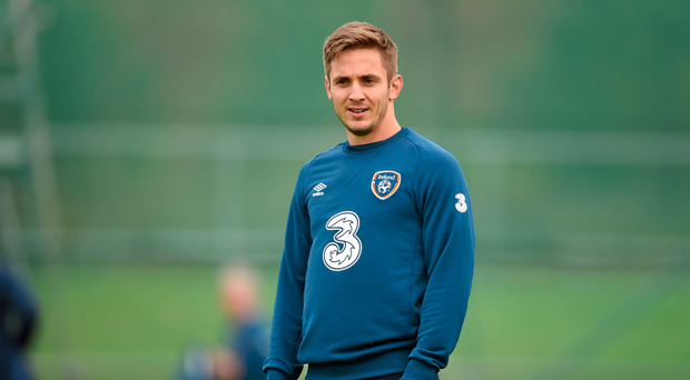 9 October 2014; Republic of Ireland's Kevin Doyle during squad training ahead of their UEFA EURO 2016 Championship Qualifer, Group D, game against Gibraltar on Saturday. Republic of Ireland Squad Training, Gannon Park, Malahide, Co. Dublin. Picture credit: Stephen McCarthy / SPORTSFILE