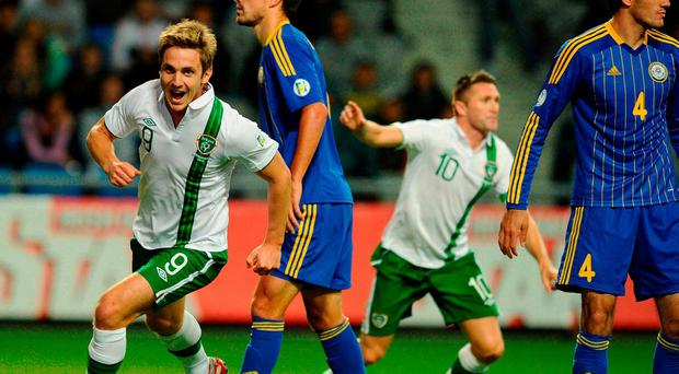 Kevin Doyle wheels away to celebrate scoring the winning goal during a World Cup qualifier against Kazakhstan at 2012. Photo: David Maher / Sportsfile