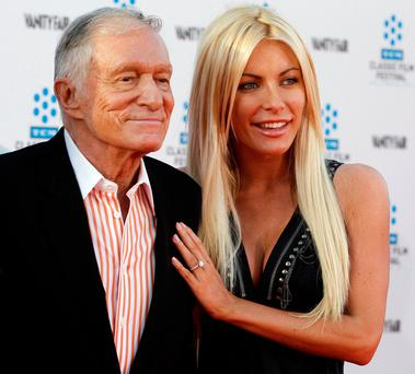 Hugh Hefner with his third wife Crystal Harris in 2011. Picture: Reuters