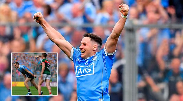Philly McMahon celebrates All Ireland win and (inset) Lee Keegan throws GPS at Rock
