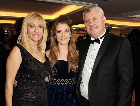 LONDON, ENGLAND - NOVEMBER 20: Ella Henderson (C) and parents Michelle and Sean attend a drinks reception at the Amy Winehouse Foundation Ball held at The Dorchester on November 20, 2012 in London, England. (Photo by Dave M. Benett/Getty Images)