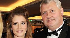 LONDON, ENGLAND - NOVEMBER 20: Ella Henderson (l) and dad Sean attend a drinks reception at the Amy Winehouse Foundation Ball held at The Dorchester on November 20, 2012 in London, England. (Photo by Dave M. Benett/Getty Images)