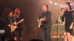 Lorraine O'Reilly on stage with Russell Crowe and Indoor Garden Party at Union Chapel, London