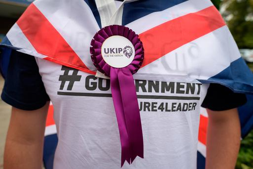 A UKIP rosette featuring the new logo at the UKIP National Conference at the Riviera International Centre in Torquay