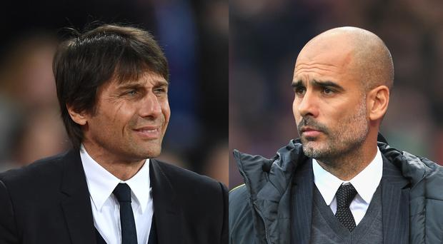 In this composite image a comparision has been made between Antonio Conte, Manager of Chelsea (L) and Josep Guardiola, Manager of Manchester City. Chelsea and Manchester City meet ina Premier League fixture at Stamford Bridge on April 5, 2017 in London,England. ***LEFT IMAGE*** STRATFORD, ENGLAND - MARCH 06: Antonio Conte, Manager of Chelsea looks on during the Premier League match between West Ham United and Chelsea at London Stadium on March 6, 2017 in Stratford, England. (Photo by Michael Regan/Getty Images) ***RIGHT IMAGE*** LONDON, ENGLAND - NOVEMBER 19: Josep Guardiola, Manager of Manchester City looks on during the Premier League match between Crystal Palace and Manchester City at Selhurst Park on November 19, 2016 in London, England. (Photo by Stephen Pond/Getty Images)