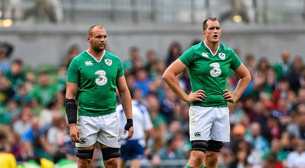 Dan Tuohy, left, and Devin Toner, Ireland. Rugby World Cup Warm-Up Match. Ireland v Scotland. Aviva Stadium, Lansdowne Road, Dublin. Picture credit: Ramsey Cardy / SPORTSFILE (Photo by Sportsfile/Corbis via Getty Images)