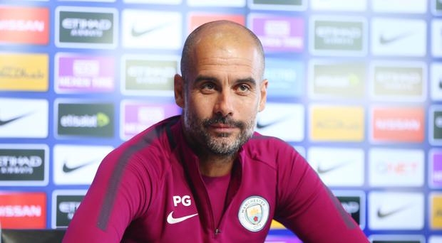 Manchester City's Pep Guardiola speaks during a press conference at Manchester City Football Academy on September 29, 2017 in Manchester, England. (Photo by Tom Flathers/Manchester City FC via Getty Images)