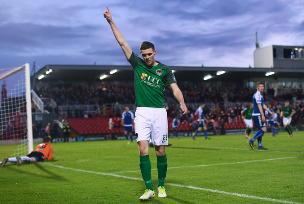 Garry Buckley of Cork City celebrates after scoring his side's first goal during the Irish Daily Mail FAI Cup Semi-Final match beween Cork City and Limerick FC at Turner's Cross in Cork. Photo by Stephen McCarthy/Sportsfile