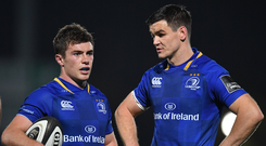 Luke McGrath, left, and Jonathan Sexton of Leinster during the Guinness PRO14 Round 5 match between Leinster and Edinburgh at the RDS Arena in Dublin. Photo by Brendan Moran/Sportsfile