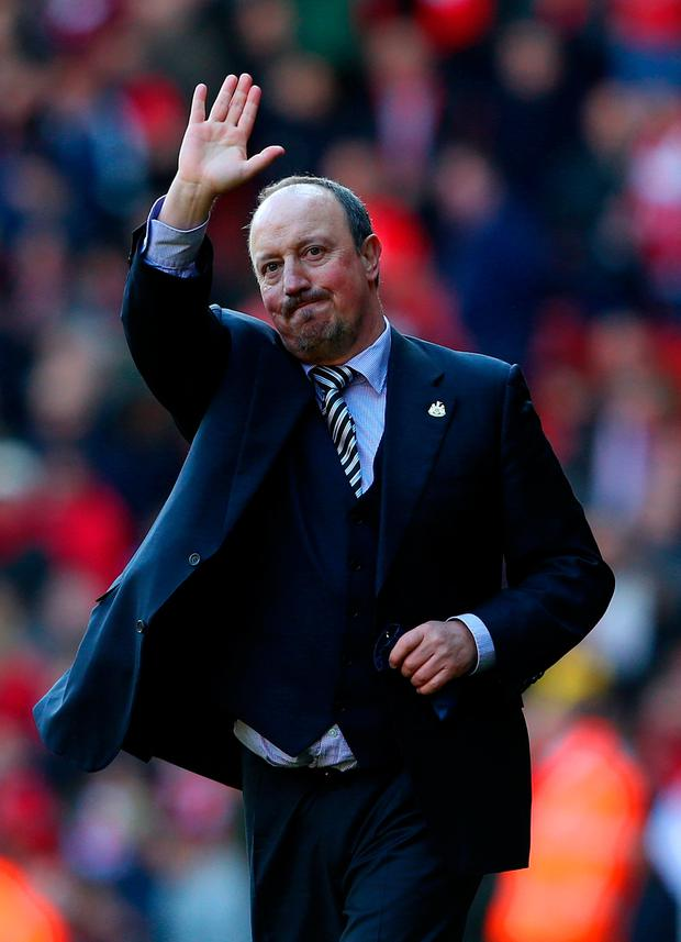 Rafael Benitez salutes the Anfield crowd during Newcastle United's trip to Liverpool for their 2016 Premier League clash Photo: Getty