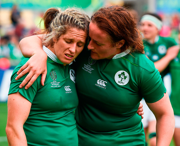 A disappointed Alison Miller and Ailis Egan after Ireland's defeat to Australia in their play-off game at this year's Women's Rugby World Cup. Photo: Sportsfile