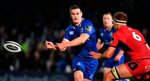 Leinster's Jonathan Sexton lays off a pass during his team's Guinness PRO14 victory against Edinburgh. Photo: Sportsfile