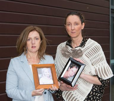 Sisters Siobhan Barrett and Trish Russell from Co Limerick photographed holding a photo of their sister Miriam who died tragically in a bedroom in the Trident hotel, Kinsale in 2011 from carbon monoxide poisoning. Photograph: Liam Burke Press 22