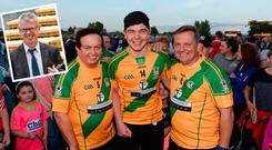 Marty Morrisey, Adam Burke and Davy Fitzgerald and (inset) Joe Brolly