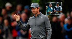 Rory McIlroy and (inset) Paul Dunne are one shot off the leaders at the British Masters