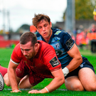 JJ Hanrahan of Munster scores his side's fifth try