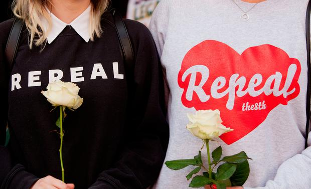 Demonstrators wear repeal clothing at The March for Choice in Dublin, a demonstration demanding change to Ireland's strict abortion laws. Photo: Tom Honan/PA Wire