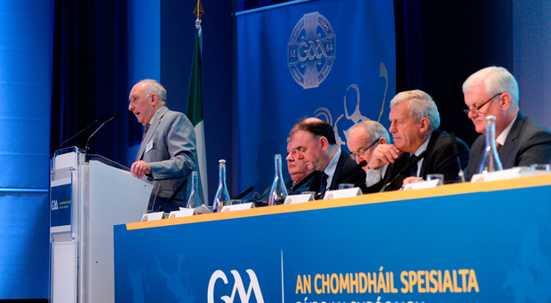 Frank Murphy, Secretary of the Cork County Board, speaking during a GAA Special Congress at Croke Park in Dublin. Photo: Sportsfile