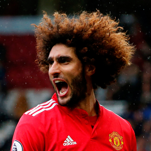 Marouane Fellaini cannot hide his delight after scoring his second goal of the afternoon against Crystal Palace. Photo: Reuters