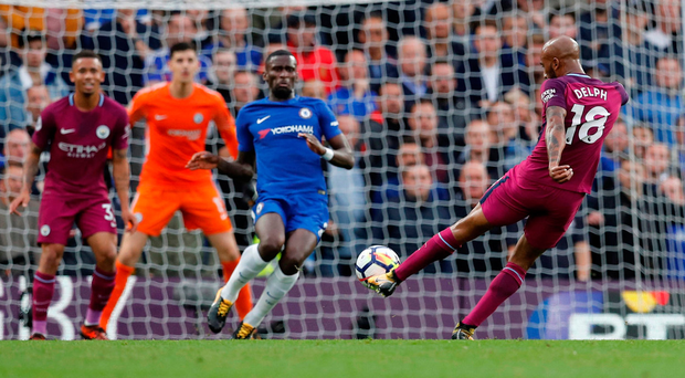 Manchester City's Fabian Delph fires a shot at the Chelsea goal during his side's impressive 1-0 victory at Stamford Bridge. Photo: Reuters