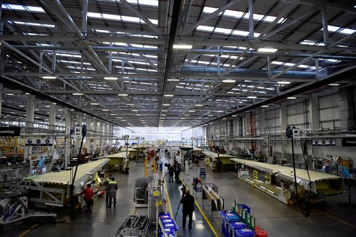 Bombardier's massive Belfast operation produces the high-tech wing of the C-Series aircraft using components supplied from across Ireland Photo: REUTERS/Clodagh Kilcoyne
