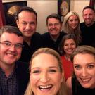 ON THE TOWN: Back row from left, Taoiseach Leo Varadkar, Finance Minister Paschal Donohoe, actress Jenny Dixon and TD Tom Neville, were among those included in a selfie taken by Fine Gael TD Helen McEntee (front centre) at the LCD Soundsytem concert last Friday nightstand