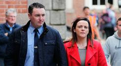 UNITED: Garda Keith Harrison and his partner Marisa Simms at the Disclosures Tribunal. Picture: Collins