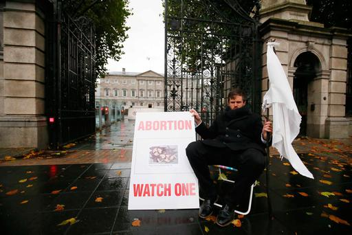 COURAGE AND DIGNITY: Tim Jackson, from Co Donegal, of the pro-life group White Flag.com, during his hunger strike protest outside Leinster House last week. Photo: Sam Boal/Rolling News