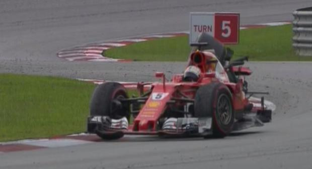 Vettel was forced to hitch a ride back to the pit lane. CREDIT: FORMULA ONE