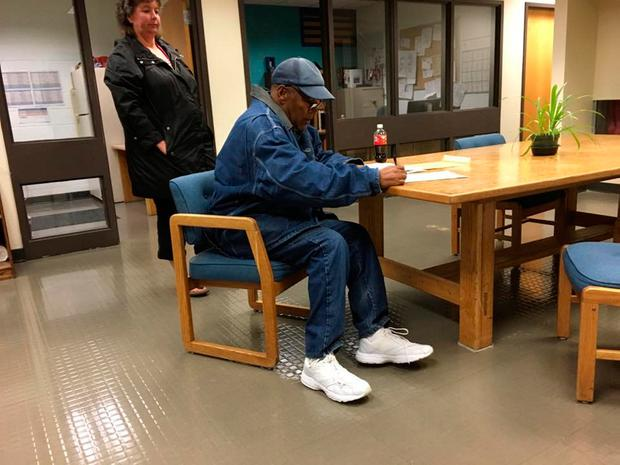 O.J. Simpson signs documentation at Lovelock Correctional Center, Nevada, U.S. as he is released on parole, in this still picture released by Nevada Department of Corrections October 1, 2017. Nevada Department of Corrections/Handout via REUTERS