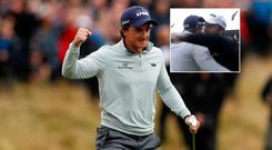 Paul Dunne celebrates after winning the British Masters and (inset) he is congratulated by fellow Irishman Shane Lowry