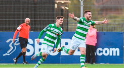 Brandon Miele of Shamrock Rovers celebrates after scoring his side's first goal