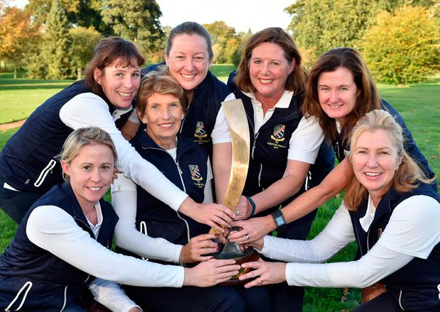 Malahide's Maire Falvey with her team-mates (from left) Vanessa McCann, Aisling McMahon, Niamh Clarke, Orla McMahon, Louise Lynch and Louise Young after Malahide Ladies' victory in the Challenge Cup at the AIG Ladies Cups & Shields All Ireland Finals at Malone Golf Club. Picture by Pat Cashman