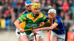 Peter Healion of Kilcormac-Killoughey in action against St Rynagh's Dermot Shortt during the Offaly SHC final in Tullamore. Photo: Sportsfile